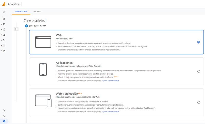crear propiedad google analytics